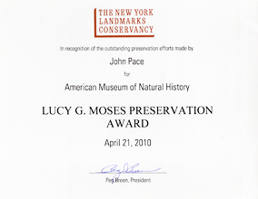 American Museum of Natural History - NY Lucy G. Moses Preservation Award - 2010